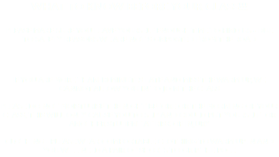 What to know before your class!!! Please make sure you leave yourself enough time to find us - Due to safety reasons we are not signposted from the road If you are more than 10 minutes late and miss the warm up, we cannot allow you in to join the class Please do not moisturise the night before or the morning of your class, this will only cause you to slip and could put yourself or another student at risk of injury Clothing - please wear comfortable clothing to warm up in and you will need a pair of shorts to grip the pole